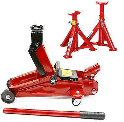 Hydraculic Trolley Floor Jack 2 Ton Tonne Long Chassis Car Van With Axle Stands