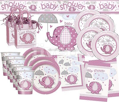 PINK UMBRELLAPHANTS, Baby Shower Girls Party Decorations, Games, Banners, Plates