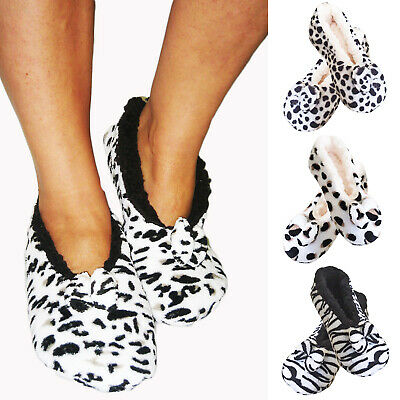 Ladies Womens Fleece Lined Warm Soft Cosy Winter Animal Print Ballerina Slippers