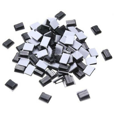 100 Pcs Black Plastic Wire Tie Rectangle Cable Mount Clip Clamp Self-adhesive N3