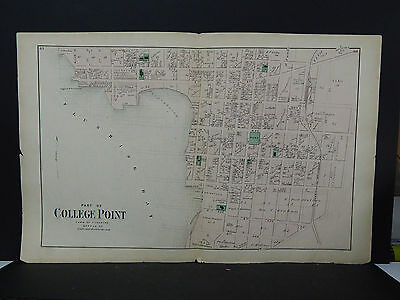 New York, Long Island Map c 1873 College Point, Flushing, Queens, Two Maps Z1#30