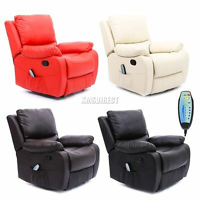 FoxHunter Leather Massage Cinema Recliner Chair Sofa Armchair Heating MLS-06 New