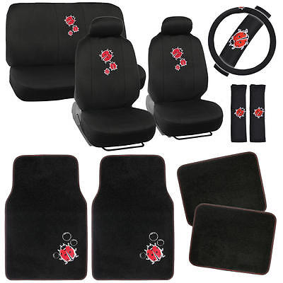 Ladybugs Car Seat Covers Vintage Designs Polyester Cloth + Carpet Floor Mats
