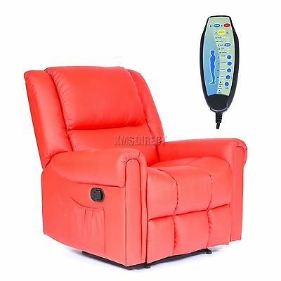FoxHunter Leather Massage Cinema Recliner Sofa Chair Armchair Heat MLS-08 Red