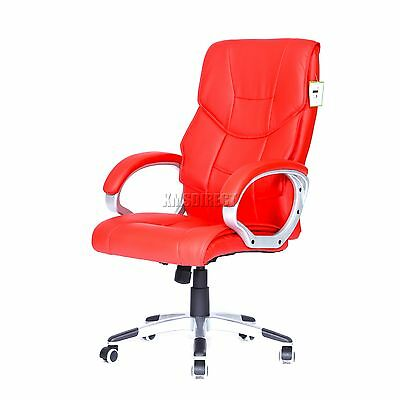 FoxHunter Computer Executive Office Chair PU Leather Swivel High Back OC08 Red