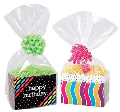 Clear Cello Basket Cellophane Bags - Gift Package Flat Gift Bag. Pack of 10