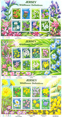 Jersey-Wild Flowers set of 3 special sheets mnh