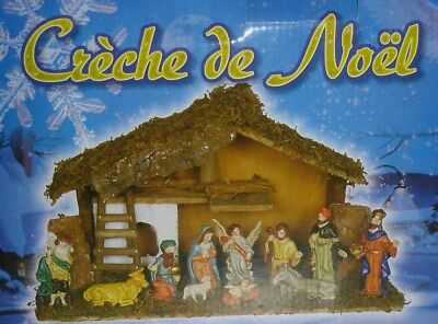 New 11pc Nativity Set (10 Figurine & 39cm Wooden Stable ) Shades 16000
