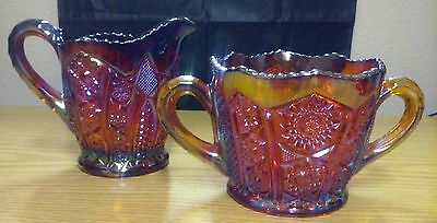 Indiana Carnival Glass Red Heirloom Large Cream & Sugar