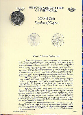 Historic Crown Coins of the World Cyprus 500 Mils 1977 UNC Hercules