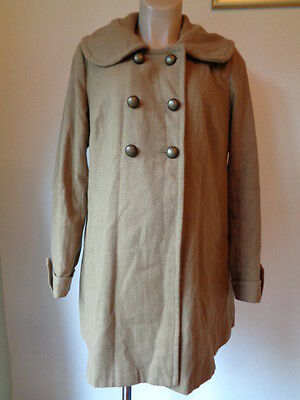 New Look Maternity Rustic Sand Wool Mix Double Breasted Jacket Coat Size 12
