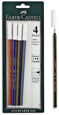 FABER-CASTELL GOLDFABER 030  NEEDLE POINT BLUE BLACK RED INK PEN 4pcs IN BLISTER