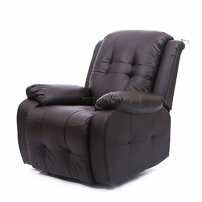 FoxHunter Luxury 1 Seater Leather Cinema Recliner Sofa Chair Armchair RS02 Brown