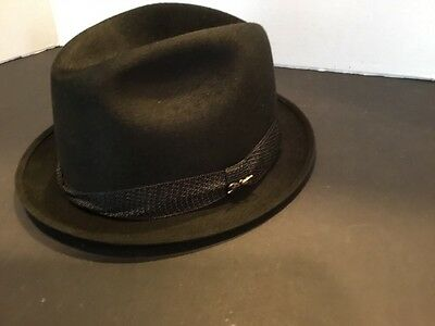 Vintage 1960s Mallory Fifth Avenue Sam Snead Black Fedora Golf Hat Size 7