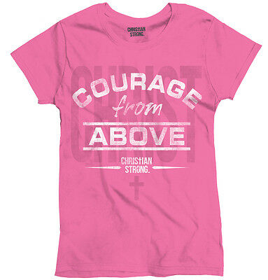 Courage From Above Christian Jesus Religious Womens Tees Shirts Ladies Tshirts