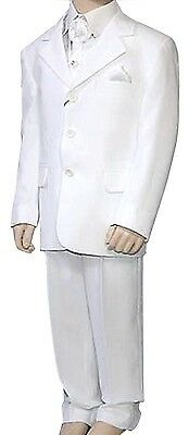 Boys white 4 Piece Formal Suit confirmation Holy communion Prom Page Boy Suit