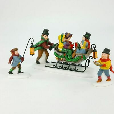 """Dept 56 Dickens' Village Set of 3 """" Caroling with the Cratchit Family""""  56.58396"""