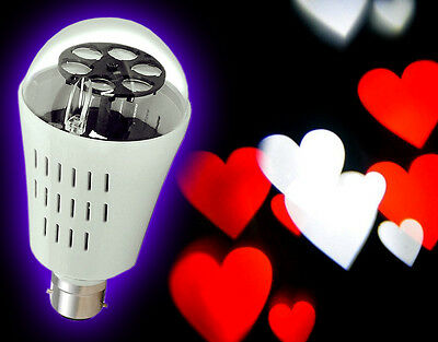Rotating LED Projector Spot Light Bulb Love Heart Shapes Party Disco Gobo /UK
