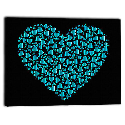 """Large Teal Hearts Canvas Framed Picture Prints Love - Wall Art Panel 30"""" x 20"""""""