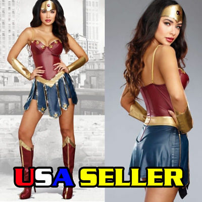 Adult Wonder Woman Deluxe Halloween Costume, Surperhero, Princess, Sexy Cosplay