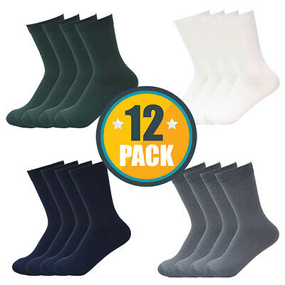 12PACK x HIGH QUALITY SCHOOL SOCKS BOYS GIRLS COTTON WHITE,NAVY,GREY,GREEN,BLACK