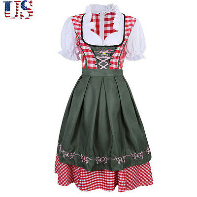 US 3 IN1 Womens German Austrian Oktoberfest Dirndl Dress Blouse Apron Party New