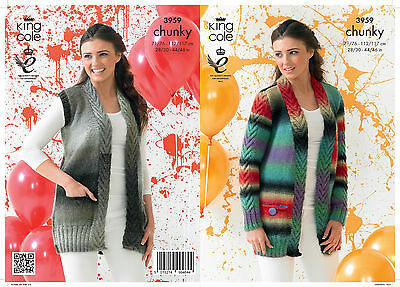 KINGCOLE 3959 ADULT CHUNKY KNITTING PATTERN  28-46 IN -not the finished garments