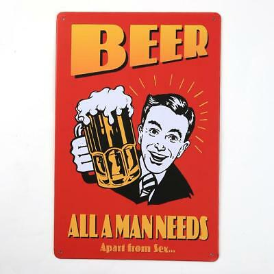 Retro BEER Metal Iron Sign Plaque Poster Home Wall Decor For Bar Pub 20x30cm B