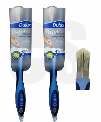 "2 x DULUX PERFECT EDGE 1.5"" / 38mm PAINT TRIANGLE BRUSH - NO LOSS BRISTLES"