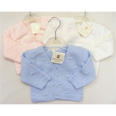 Baby Boys Baby Girls Quality Bubble Knit Cardigan White Pink Or Blue N/B - 9 M