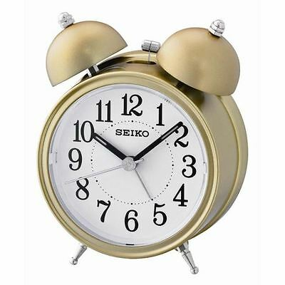 Seiko Unisex Bell Alarm Clock with Light and Snooze - Gold