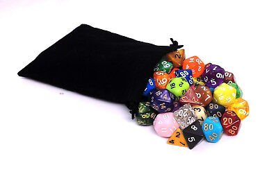 42 Polyhedral Dice with Bag - Includes 6 Complete Sets of 7 - RPG D&D Pathfinder
