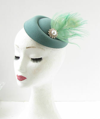 Teal Mint Green Silver White Feather Pillbox Hat Fascinator Hair Clip Races 315