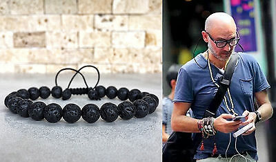 Man's Lava Rock Beaded Yoga Gemstone Bracelets Mala Energy Bracelet Adjustable