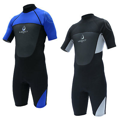 Legacy 3/2mm Mens Shorty Wetsuit Surf Shortie Swim Long Wet Suit Short S-XXL
