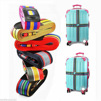 Adjustable Travel Luggage Suitcase Cross Strap Baggage Backpack Belt Metal Clasp