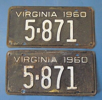 1960 Virginia License Plates Matched Pair low 4 digit number
