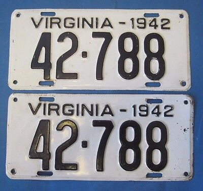 1942 Virginia License Plates Matched pair 42 in number