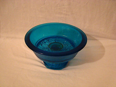 Rare Vintage Blue Crackle Glass Bowl