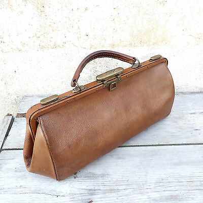 Antique 1900 French doctor bag brown leather