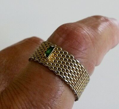 Vintage Mesh Rhinestone Band Ring Size 9 Green Baguette Wide