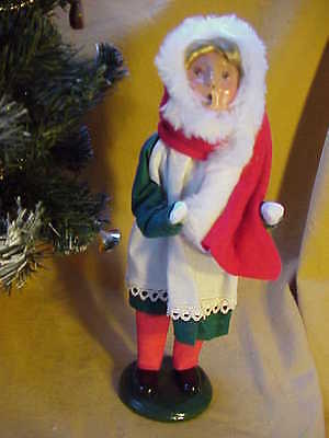 1996 Byers Choice Carolers Girl w Red Scarf and Long White Fur Hat  Perfect! b43