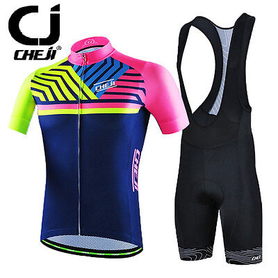 CHEJI Men Cycling Jersey Team Bike Bicycle Short Sleeve Clothing bib/shorts set