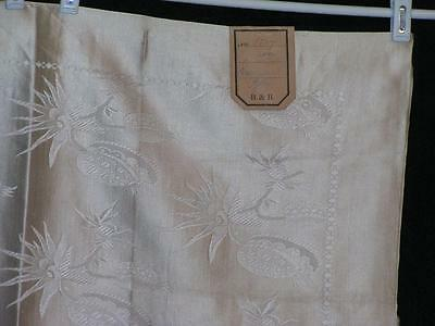 Embossed Fine Damask Tablecloth From B&B with Paper Tag 1910's