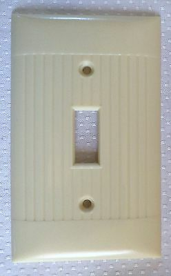 Ivory Vintage Sierra Ribbed Art Deco Bakelite Single Gang Switch Plate Cover