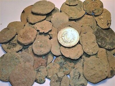 (5) **encrusted** Spanish Colonial Pirate Treasure Time.  Need Restoration