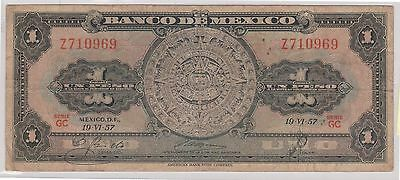 (WU-16) 1957 Mexico 1 peso bank note (A)