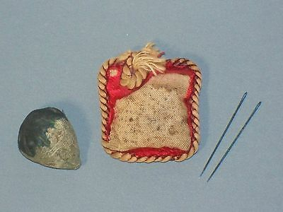 Antique Victorian Pair NEEDLE SHARPENER STRAWBERRY EMERY & Sewing Vtg Cushion