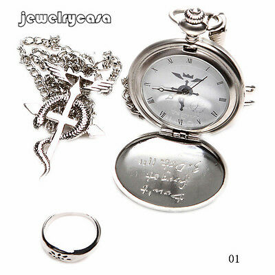 JEW High Quality Nice Charm Japan Cosplay Pocket Watch Necklace Ring Set Gift