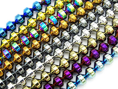 Natural Metallic Colors Hematite Gemstone Lantern Loose Beads 16'' 4mm 6mm 8mm